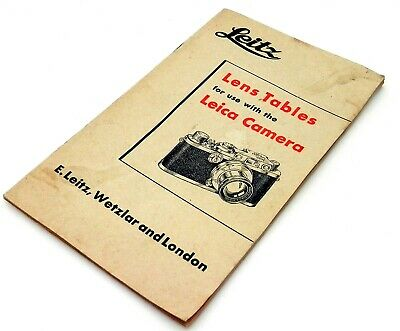 Leitz Leica Lens Tables for use with Leica Rangefinder Cameras #4029