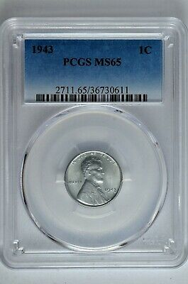 1943 1c Lincoln Steel Wheat Cent PCGS MS 65