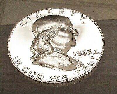 1963  Franklin   Proof   90% Silver > Blazing  Mirrored  Surfaces <  #424  66