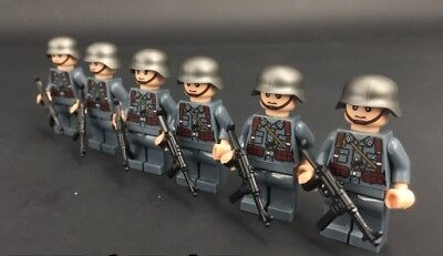 WWII German 6 Mini figure Soldier Defense World War 2 (II) WW2 custom moc gun