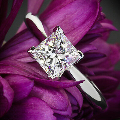 Solitaire 4 Prong 1 Ct Princess Cut Diamond Engagement Ring White Gold SI1 E