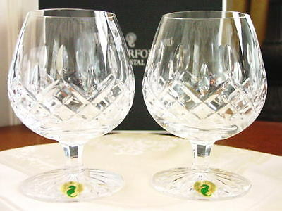Waterford Crystal LISMORE Balloon Brandy Snifters Glasses Set / 2 - NEW/BOX!