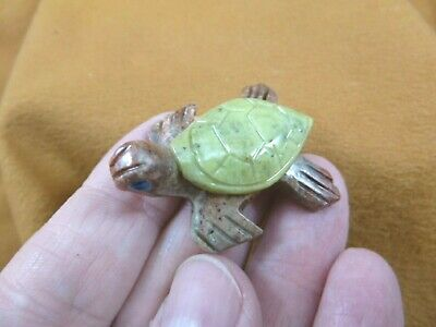 (Y-TUR-SE-118) SEA TURTLE baby GREEN SERPENTINE carving I love little turtles