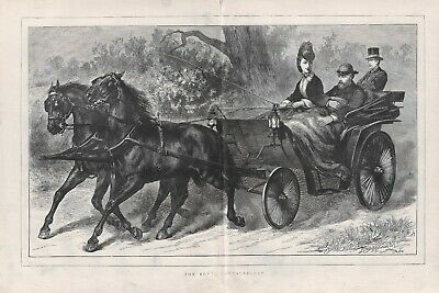 OLD ANTIQUE 1872 PRINT HORSES AND CARRIAGE PRINCE AND PRINCESS OF WALES d19