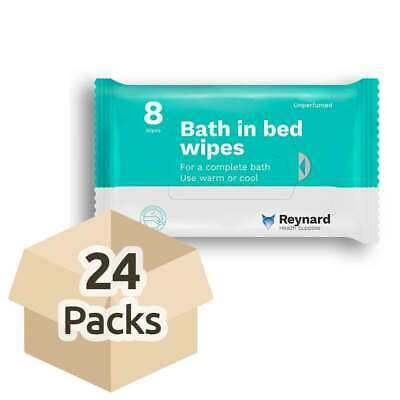 Reynard Bath In Bed Wipes - Case - 24 Packs of 8 Wipes - Unperfumed