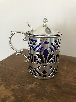 Antique Reticulated Sterling Silver & Cobalt Blue Glass Salt Dish Cellar