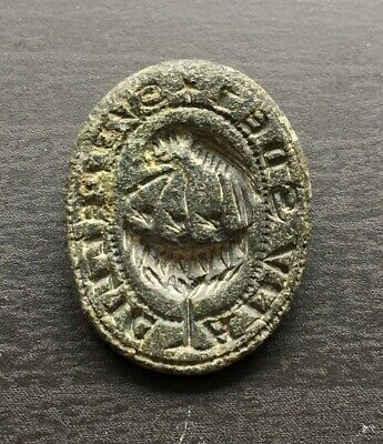 Medieval Bronze Seal Matrix Falcon Feeding Hatchlings