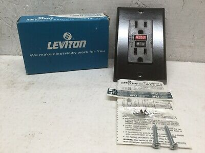 Leviton 6599 Brown Ground Fault Circuit Interrupter GFCI GFI W/Wallplate 125V