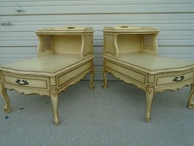 Pair Step End Tables French Country Side Provincial 2 Cabriole Tier Cane