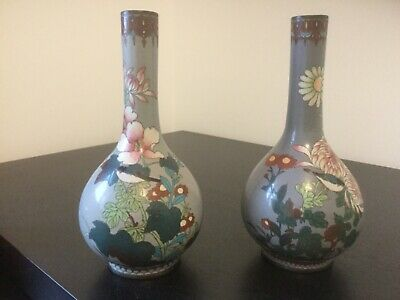 Very Old Near Pair Of Cloisonne Bottle Vases