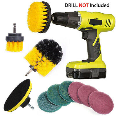 10xPower Scrubber Brush For Cleaning Bathroom Kitchen Tiles Cordless Drill Kit