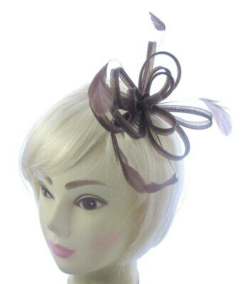 Fascinator Comb in Brown loops with feathers for weddings , ladies day