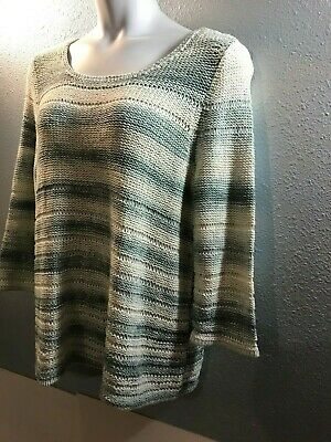 e6e906de J. Jill Pullover Style Open Knit Top Size Xl Sage & Cream Cotton Blend