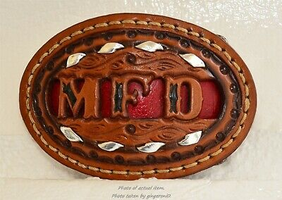 "Vintage Leather Laced Stitched Inlay Filigree Belt Buckle Name Initials ""M F D """