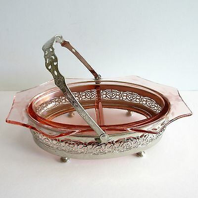 Silverplate Divided Pink Etched Glass Bowl Jam Jelly Condiment Server Filigree