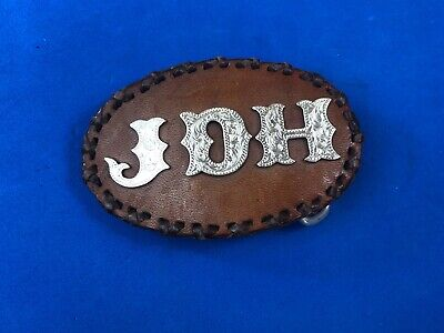Custom? Stitched Leather western belt buckle Initial Letters, JDH