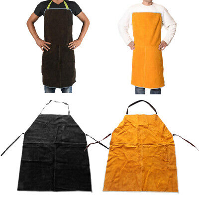2PCS Welding Protective Work Apron Designed for Utmost Safety- Yellow+Brown