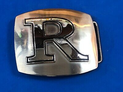 Vintage Silver and Black Color Block belt buckle with initial letter name R