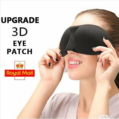 Black 3D Soft Padded Blindfold Eye Mask Travel Rest Sleep Aid Shade Cover Patch