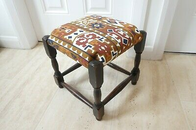 Vintage Stool Reupholstered with Kilim Pattern Fabric