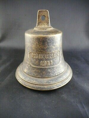 Vintage Reproduction MS Bremen 1911 Brass Ship Ships Bell Dinner L1