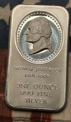 Thomas Jefferson One Troy Ounce .999 Fine Silver Bar #XE27 Very Sharp