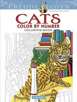 Creative Haven Cats Color by Number Coloring Book 9780486818535   Brand New