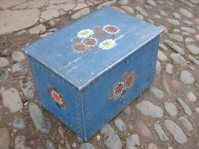 Antique Victorian Painted Pine  Box / Chest