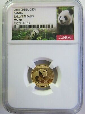 2016 3 gram China Gold Panda NGC MS70 Early Releases 50 Yuan Chinese Coin