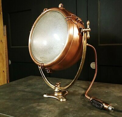 Vintage Copper GE Novalux Floodlight Projector by General Electric - RESTORED!