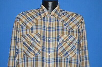 vintage 80s LEVIS YELLOW BLUE GREEN PLAID WESTERN PEARL SNAP COWBOYS SHIRT LRG L