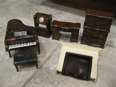 RENWAL vintage doll house furniture piano bench chest desk clock
