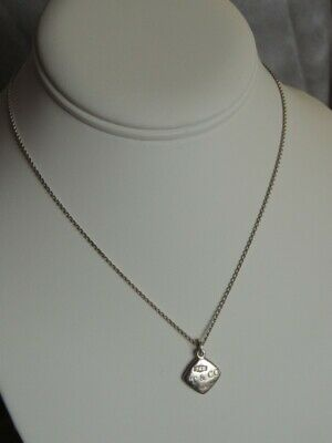 Tiffany & Co 1837 Square Pendant Sterling Silver Necklace 925 (Njl016150)