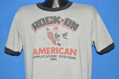 vintage 80s ROCK ON AMERICAN APPLICATION SYSTEMS CONSTRUCTION WORKER t-shirt L