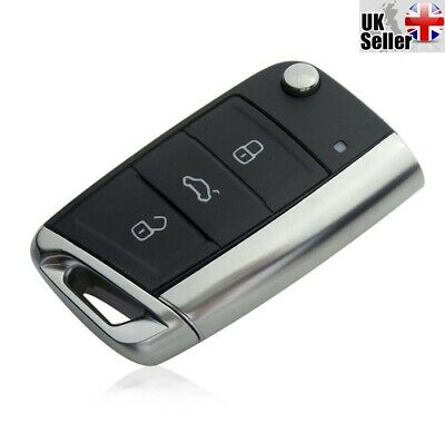 "Replacement 3 Button Flip Key For VW Volkswagen Golf MK7 2012 & More ""WITH LOGO"""