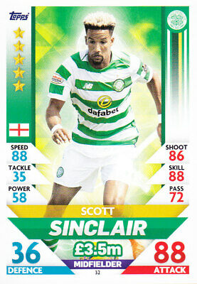 TOPPS MATCH ATTAX SPFL 2018-19 - Scott Sinclair - Celtic - # 32