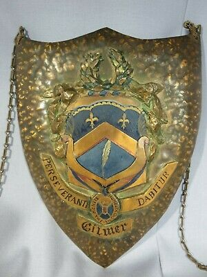 Antique 19Th Century Handmade Hammered Copper Gilmer Family Coat Of Arms Crest