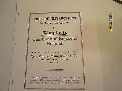 Turner Simplicity Gas Engine  Catalog Instruction Manual