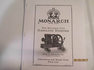 1919 Monarch Line Gas Engine Instruction Parts  Manual Royal Engine Co