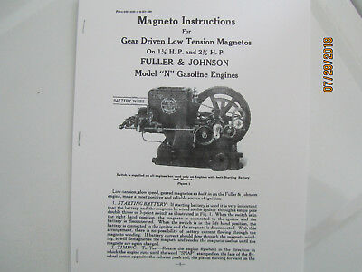 1923 1 1/2 & 2 1/2HP N Fuller & Johnson Gas Engine Magneto  Instructions Manual