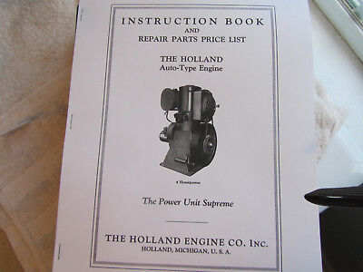4HP Holland Engine Co Auto Type Gas Engine Instruction/Parts List Manual