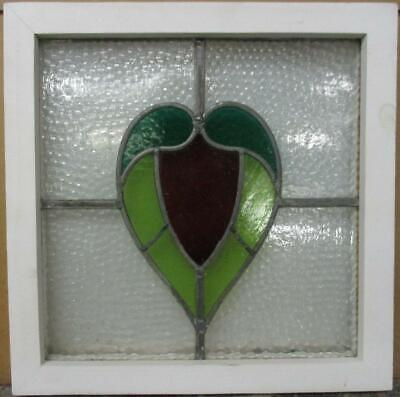 "OLD ENGLISH LEADED STAINED GLASS WINDOW Pretty Abstract Heart 17.25"" x 17.5"""