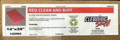(10) Cleaning Stuff RED Clean & Buff PADS 14x28 floor finish scrub 213143