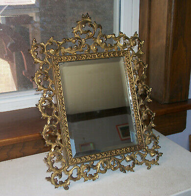 Large Victorian Cast Iron Easel Beveled Mirror Circa 188s - 1890s  All Original