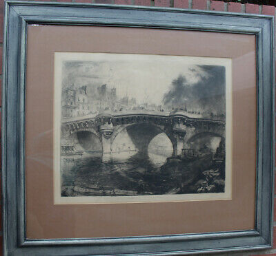 Louis Orr Le Pont Neuf Paris Etching Large Framed Print Antique Beautiful