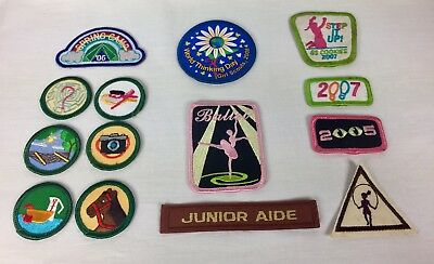 Girls Scout Patches Badges Lot Of 14