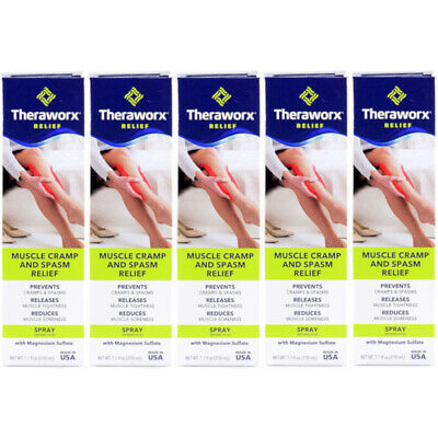 5 Pack Theraworx Relief Fast-Acting Spray for Leg Muscle & Foot Cramps 7.1oz Ea