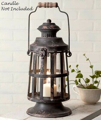 Primitive CURTIS ISLAND LANTERN Candle Holder Distressed Metal Farmhouse Rustic