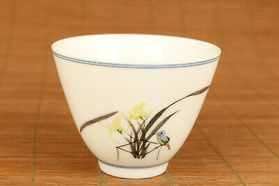 porcelain hand painting fragrant thoroughwort bird collectable kung fu tea cup