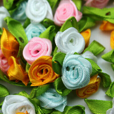 100pc Satin Ribbon Flowers Rose With Green Leaves Appliques Sewing DIY Craftsnew